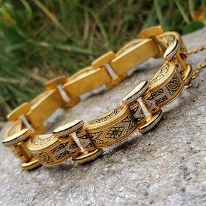 Vtg Ornate Goldplate Damascene Link Bracelet!